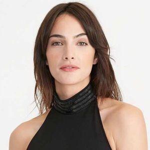 RL Beaded-Mockneck Ponte Dress Black